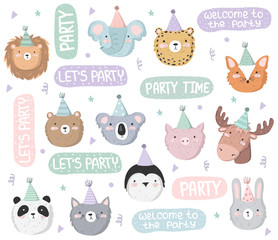 Vector set of cute stickers with festive animals at a party and text