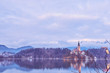 Lake bled church reflection