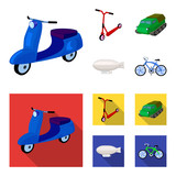 Motorcycle, scooter, armored personnel carrier, aerostat types of transport. Transport set collection icons in cartoon,flat style vector symbol stock illustration web. - 211529507