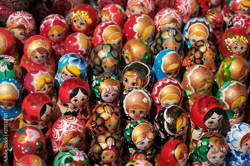 Leinwanddruck Bild Russian souvenir dolls, Matryoshka doll collection -