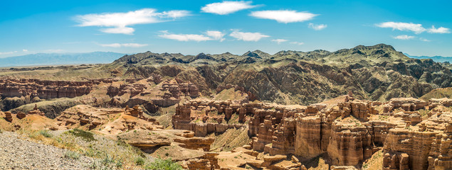Sharyn Canyon panorama view -geological formation consists of sedimentary red sandstone. Kazakhstan. © Lelde Feldmane
