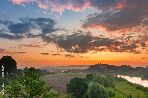 Aluminium Krakau Beautiful colorful sunrise landscape, Tyniec near Krakow, Poland