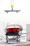 yatch boat in shipyard  for repair and maintenance in marina port - 211536143