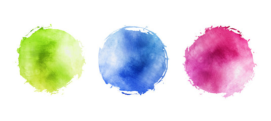 Illustration of watercolor circles with uneven grunge, round multicolored frames for background with drops on the edge © ArdeaA