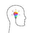 Imagination concept with lightbulb made of colors and profile outline made of dashed line