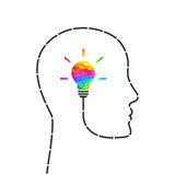 Imagination concept with lightbulb made of colors and profile outline made of dashed line - 211538724