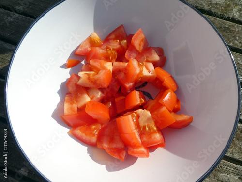 Plexiglas Boord Tomaten würfeln