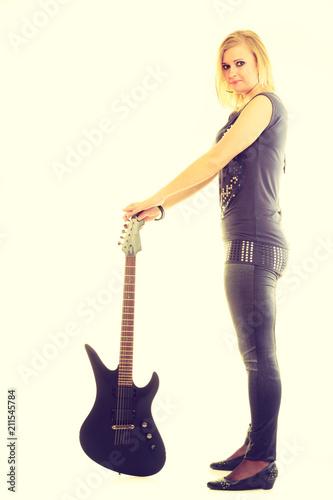 Fototapeta Blonde girl with electric guitar.
