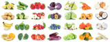 Obst und Gemüse Früchte Apfel Orange Zitrone Zwiebel Tomaten Farben Collage Freisteller freigestellt isoliert