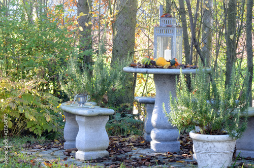 Leinwanddruck Bild Herbstliche Sitzecke