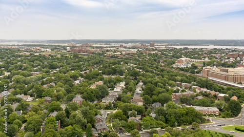 The skyline of Alexandria, VA, USA as seen from the George Washington Masonic Temple. - 211553741