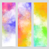 Vector abstract banners of colorful backgrounds with colorful clouds, smoke, multicolor dust, paint. Multicolored concept illustrations with realistic clouds of Holi paint powder. - 211555323