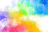 Vector abstract colorful background with colorful clouds, smoke, multicolor dust, paint. Multicolored concept illustration with realistic clouds of Holi paint powder. - 211555371