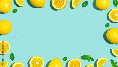 Fresh lemon pattern on a bright color background flat lay - 211562596