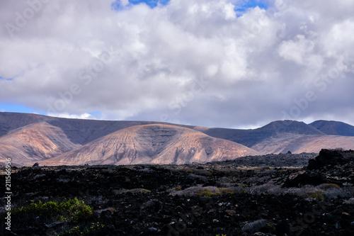 Aluminium Zwart Landscape in Tropical Volcanic Canary Islands Spain