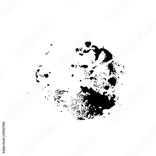 Fototapeta Grunge ink brush round stamp. Modern black vector illustration.