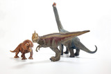 Tyrannosaurus Triceratops Brachiosaurus Dinosaur Toy figurine on white background
