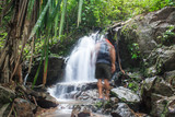 Ton Sai Waterfall in the forest Phuket Thailand. Tropical zone,Top Tourist Destinations.