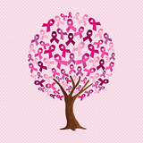 Breast cancer awareness tree of pink ribbons - 211576510