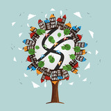Tree with city landscape skyline and houses - 211576551
