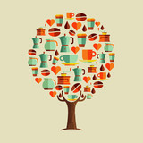 Coffee drink icon set tree concept for cafe - 211576561
