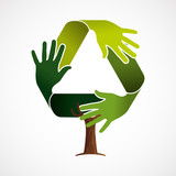 Green tree concept for recycling teamwork - 211576585