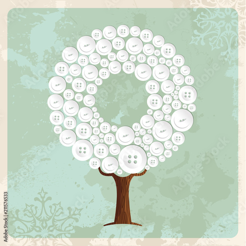 Tree made of fashion buttons decoration - 211576533