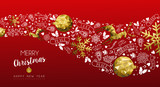 Gold deer christmas and new year web banner - 211576946
