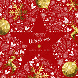 Merry christmas and new year greeting card - 211576948
