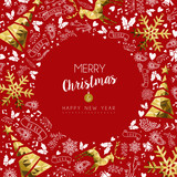 Merry christmas and new year greeting card - 211576968