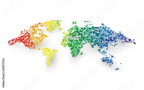 abstract colorful world map dotted graphic design - 211577533
