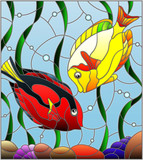Illustration in stained glass style with a pair of fish surgeon on the background of water and algae - 211577754