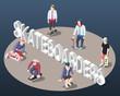 Skateboarders Isometric Background