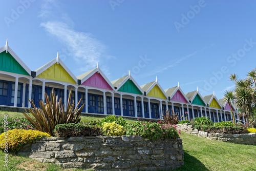 Foto Murales Beach Hut and Blue Sky in Dorset