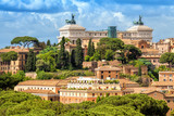 Aerial scenic view of Rome. Altar of the Fatherland also known as the National Monument to Victor Emmanuel II in Rome, Italy. Rome architecture and landmark.
