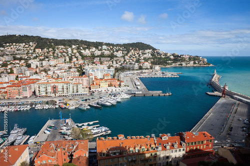 Poster Port Lympia on French Riviera in City of Nice in France