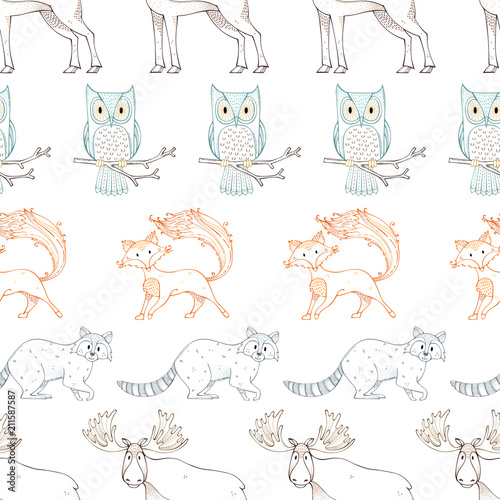 Wild animals. Vector seamless pattern. - 211587587