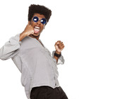 young handsome afro american guy stylish hipster shouting happy isolated on white background. people emotions concept - 211592156