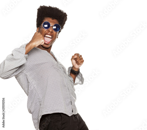 young handsome afro american guy stylish hipster shouting happy isolated on white background. people emotions concept