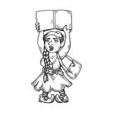 Gnome girl engraving vector illustration