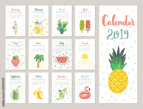 Calendar 2019. Cute monthly calendar with lifestyle objects, fruits, and plants. - 211593537