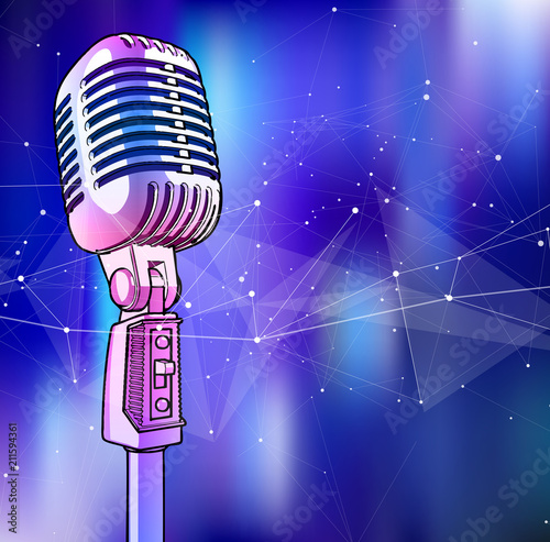 Fototapeta A microphone on a blue technological background is surrounded by a sound wave. Atmosphere of sound recording studio, chamber concert, night disco club or karaoke club / vector