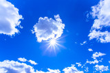 Sunny blue sky and clouds.