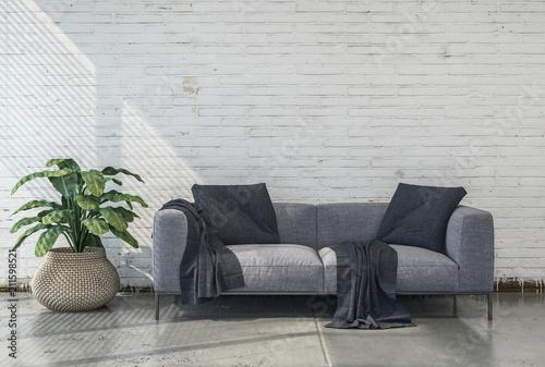 Minimalistisches Wohnzimmer mit grauer Couch