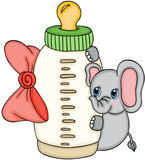 Cute elephant with baby milk bottle