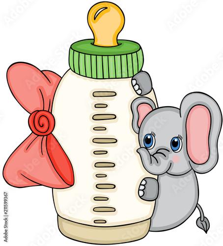 Fototapeta Cute elephant with baby milk bottle