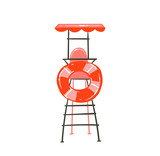 Hand drawn vector abstract graphic cartoon summer time flat illustration with beach lookout tower and float ring buoy isolated on white background - 211608588