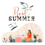 Hand drawn vector abstract cartoon summer time graphic illustrations template cards with girl,sea gull birds on beach scene and modern typography Best Summer isolated on white background - 211609187