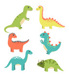 Dinosaurs Types Collection Vector Illustration © robu_s