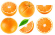 Leinwanddruck Bild - Isolated oranges collection. Whole orange fruits and cut into pieces isolated on white background with clipping path